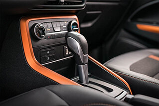 leather interior and center console image inside the ford ecosport