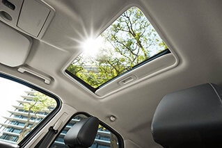 open sunfoof view while sitting in the drivers seat of a 2018 ford ecosport