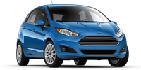 blue ford fiesta hatchback car