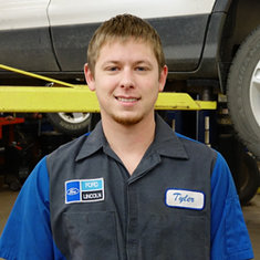 Senior Master Technician Tyler Doll in Service at Eide Ford Lincoln