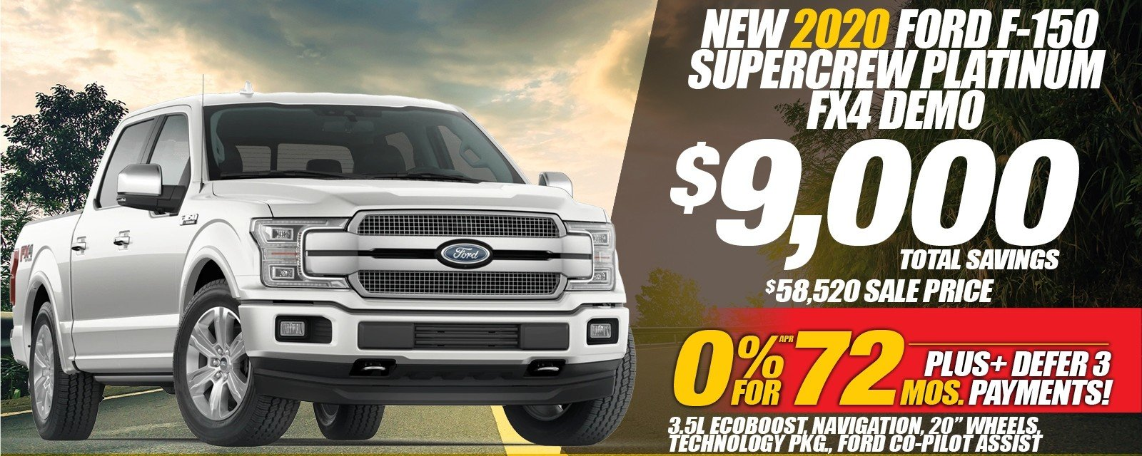 Special offer on 2019 Ford F-150 NEW 2020 FORD F-150 PLATINUM FX4 DEMO SPECIAL