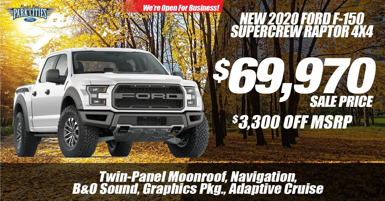 Special offer on 2020 Ford F-150 NEW 2020 FORD F-150 RAPTOR 4X4 SPECIAL OFFER
