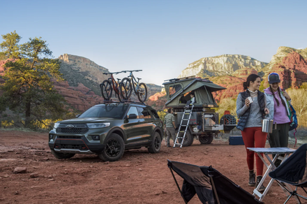 A 2021 Ford Explorer set up at a campsite ready for a weekend of outdoor fun.