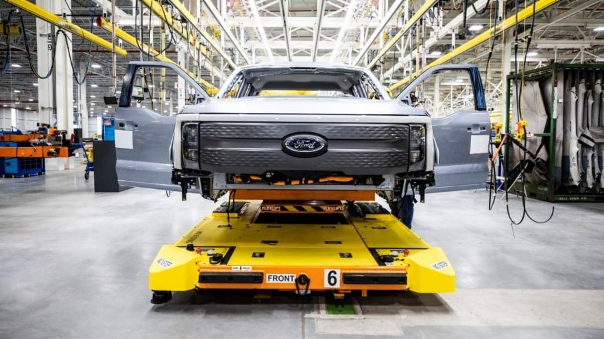 Ford F-150 Lightning pre-production at Rouge Electric Vehicle Center. Pre-production model shown. F-150 Lightning available starting spring 2022.