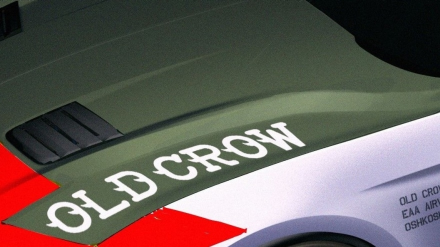 "The ""Old Crow"" Ford Mustang GT wears an authentic paint scheme and badging similar to that of Anderson's P-51 Mustangs."