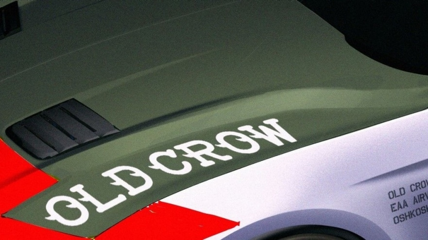 """The """"Old Crow"""" Ford Mustang GT wears an authentic paint scheme and badging similar to that of Anderson's P-51 Mustangs."""