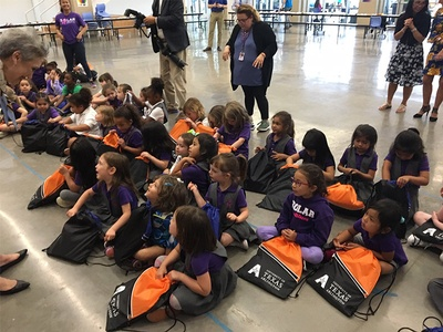 PreK students from the Solar Preparatory School for Girls make dinosaur fun