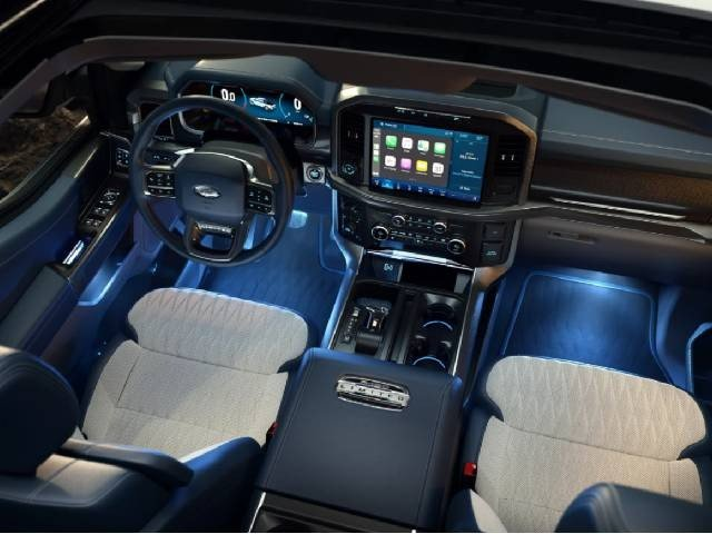 The plush interior of the 2021 Ford F-150 Lariat Limited.