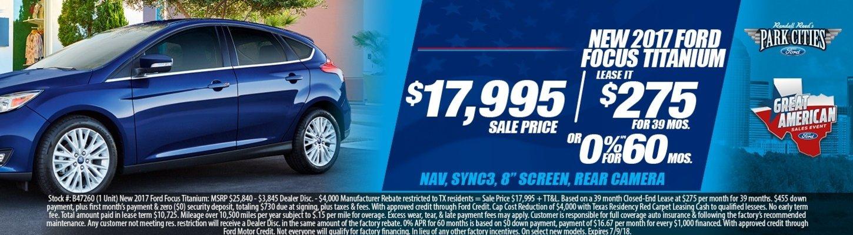 New 2017 Ford Focus Titanium Special at Dallas Ford Dealer