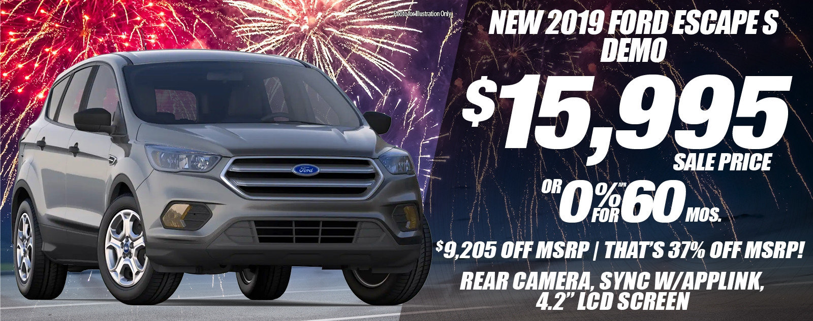 Special offer on 2019 Ford Escape NEW 2019 FORD ESCAPE S DEMO SPECIAL