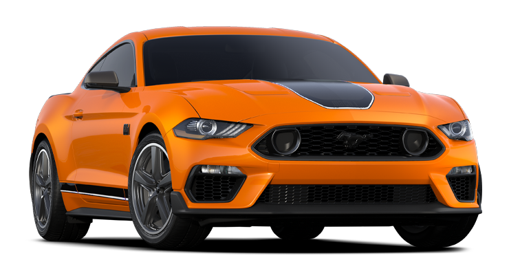 An orange 2021 Ford Mustang with black racing stripes.