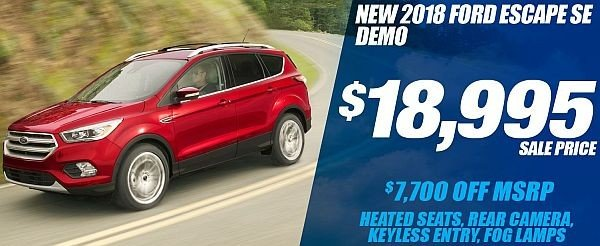 New 2018 Ford Escape SE Demo Available for Sale at Park Cities Ford of Dallas - Located in Dallas, TX