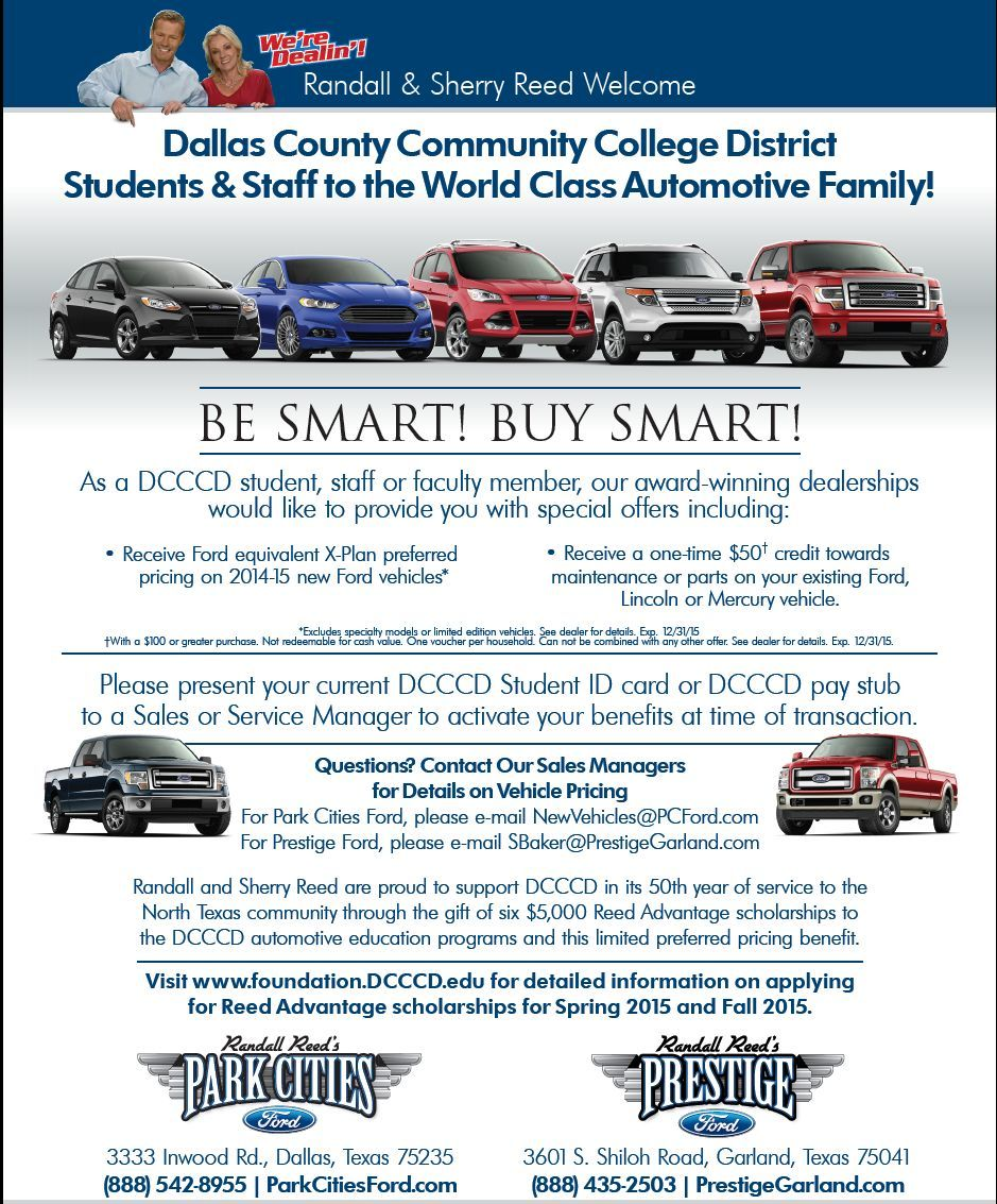 The dallas county community college discount program by Park Cities Ford of Dallas