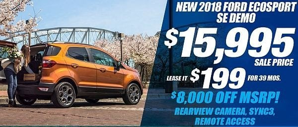 New 2018 Ford EcoSport SE Demo Available for Sale at Park Cities Ford of Dallas - Located in Dallas, TX
