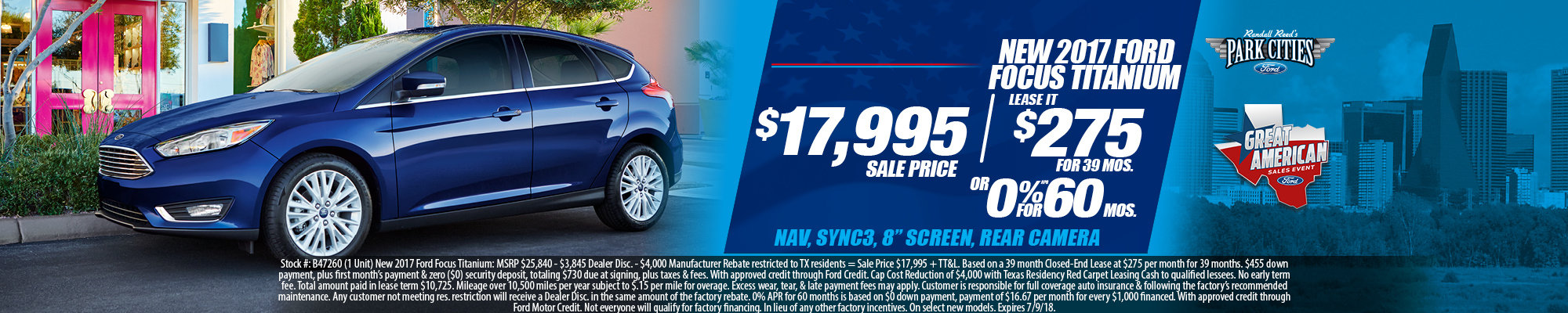Special offer on 2017 Ford Focus NEW 2017 FORD FOCUS TITANIUM SPECIAL IN DALLAS, TX