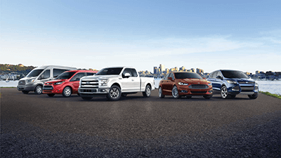 collage of ford transit, ford f150, ford fusion and ford edge vehicles