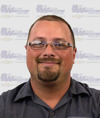Collision Technician DAVID HANSON in Body Shop at Burt Watson Chevrolet
