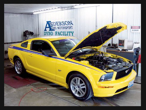 Yellow Ford Mustang GT on the dyno at Anderson Ford