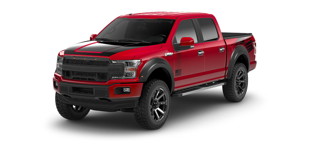 red and black roush ford f150 performance truck