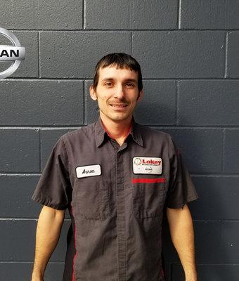 Service Technician AARON WILKERSON in Service at Lokey Nissan