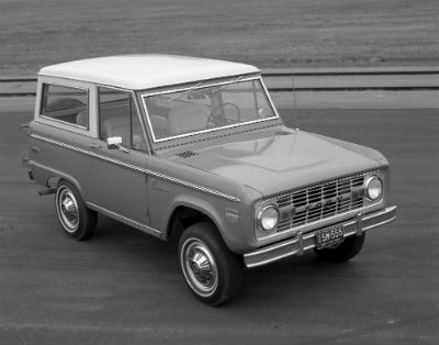 1970 Ford Bronco exterior front fascia and passenger side black and white photo
