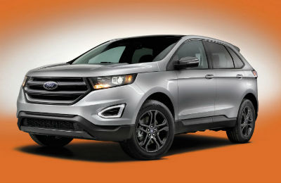 2018 Ford Edge exterior front fascia and drivers side on orange background