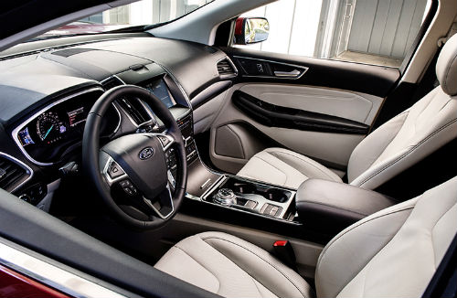 2019 Ford Edge interior front cabin steering wheel dashboard and seats