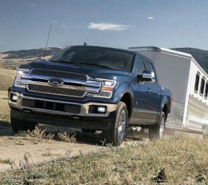 2019 Ford F-150 exterior front fascia and drivers side pulling trailer behind