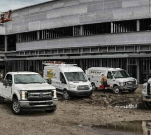 2019 Ford Models exterior front fascias and passenger sides in construction zone