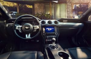 2019 Ford Mustang interior front cabin steering wheel and dashboard