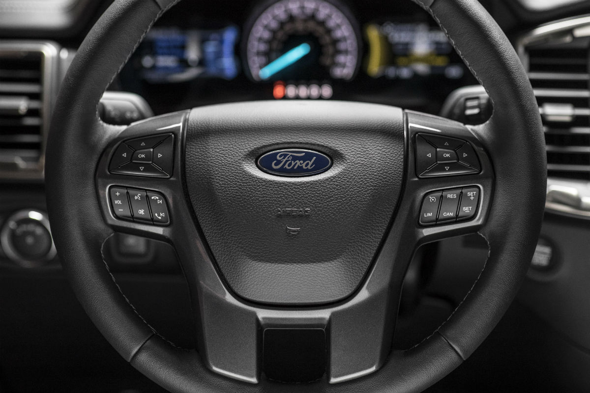 Steering wheel mounted controls and driver information center of the 2018 Ford Ranger