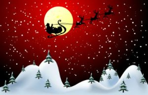 Santa Claus on sleigh in red sky