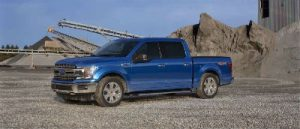 Velocity Blue 2019 Ford F-150 exterior front fascia and drivers side