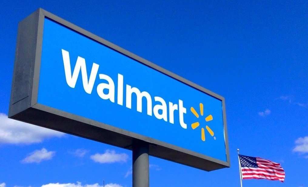 Walmart Sign with a United States flag