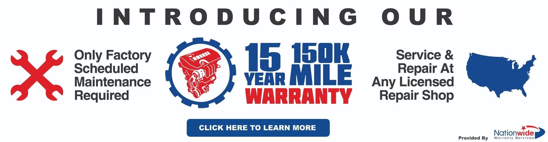 15 Year 150,000 Mile Warranty