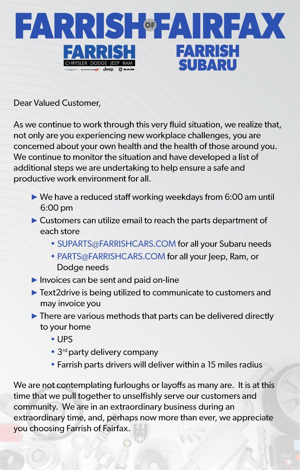Service & Parts Customer Letter For Farrish Cars