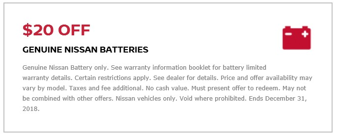 Coupon for $20 Off Genuine Nissan Batteries