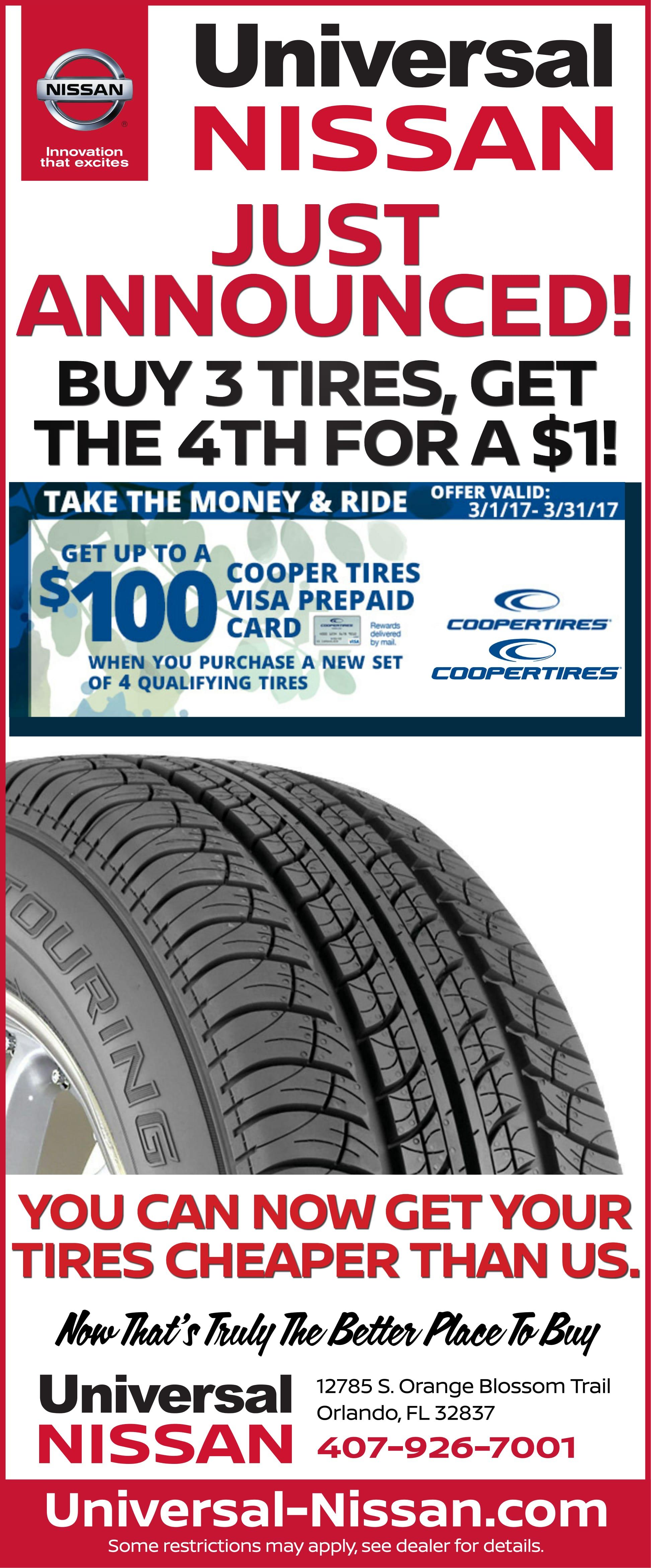 Cooper Tire Rebate Universal Nissan
