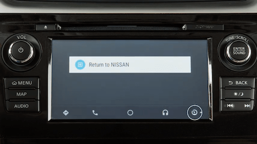 The return to view normal controls icon circled on the Android Auto Screen