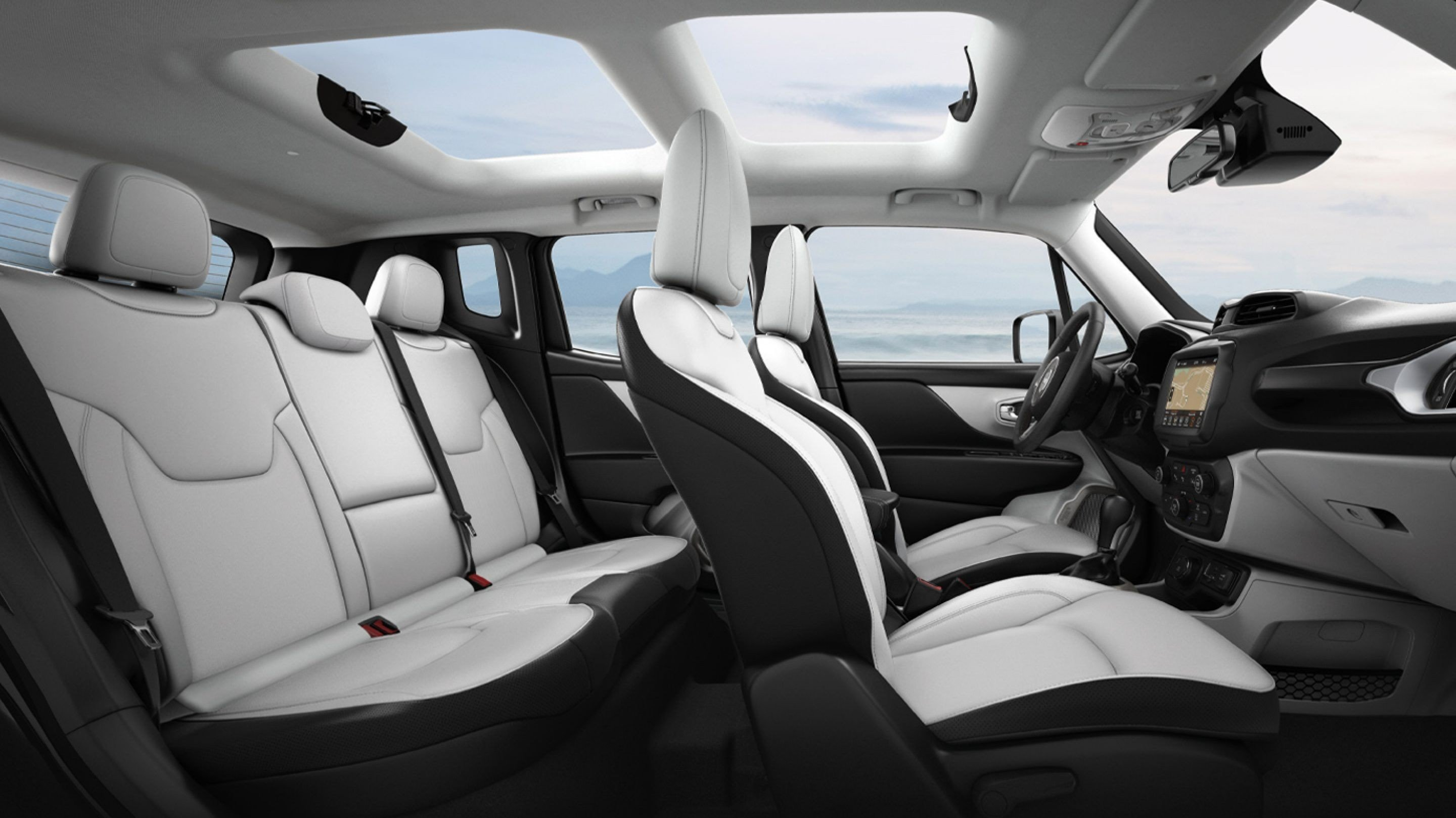 The beautiful interior of the rugged Renegade.