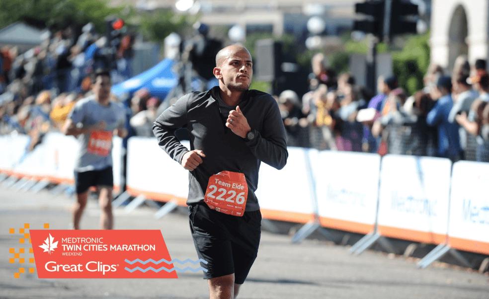 Moneer running the Twin Cities Marathon