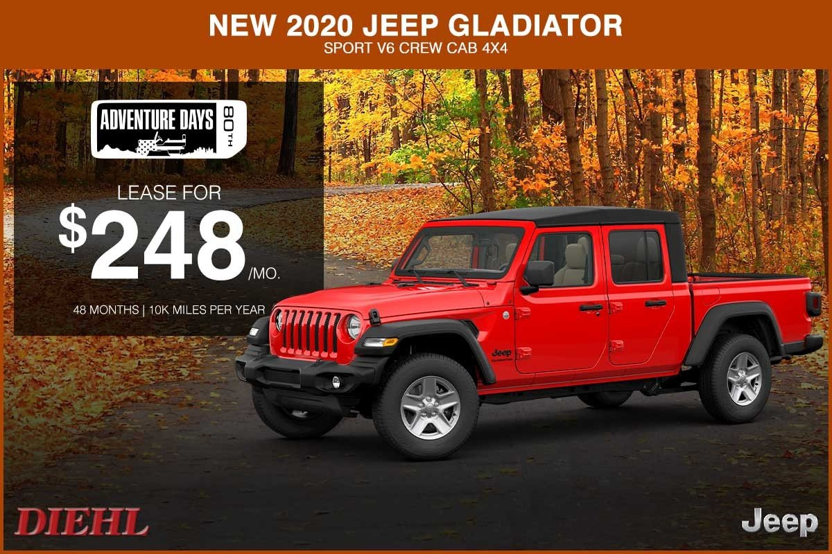 Special offer on 2020 Jeep Gladiator NEW 2020 JEEP GLADIATOR SPORT V6 CREW CAB 4X4