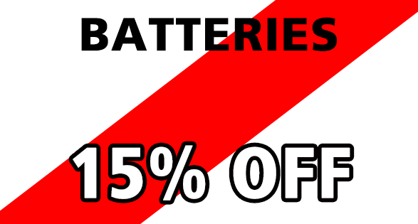 Coupon for BATTERIES--15% OFF 15% off all in stock vehicle batteries