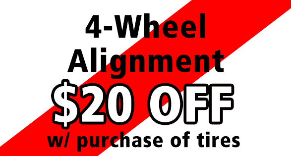 Alignment w/ Purchase of Tires--$20 off