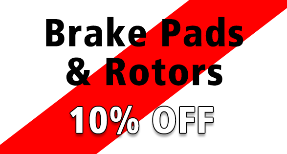 Coupon for Receive 10% discount on brake pads and rotors.
