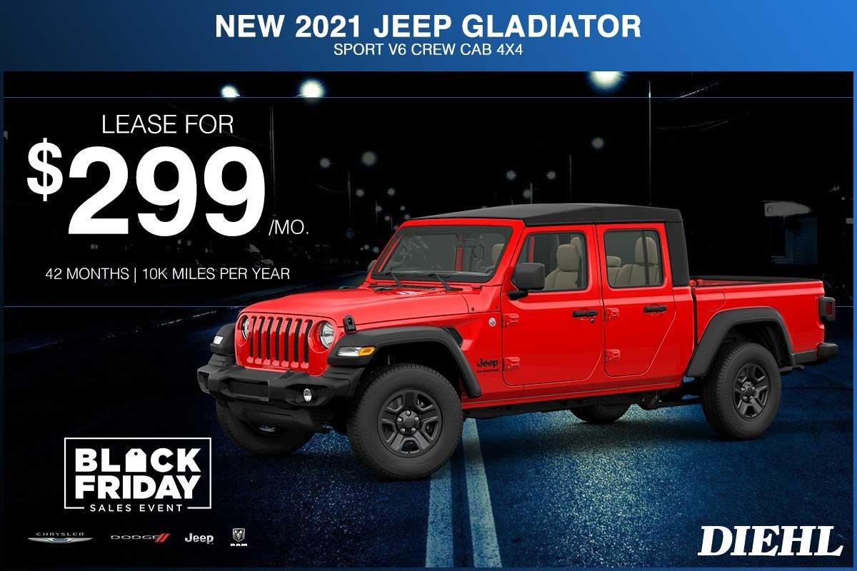 Special offer on 2021 Jeep Gladiator NEW 2021 JEEP GLADIATOR SPORT V6 CREW CAB 4X4