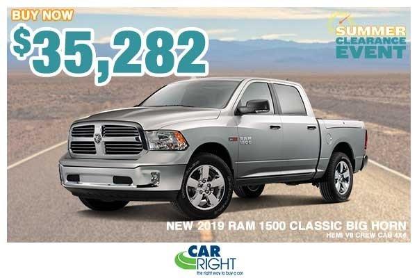 Special offer on 0   NEW 2019 RAM 1500 CLASSIC BIG HORN HEMI V8 CREW CA