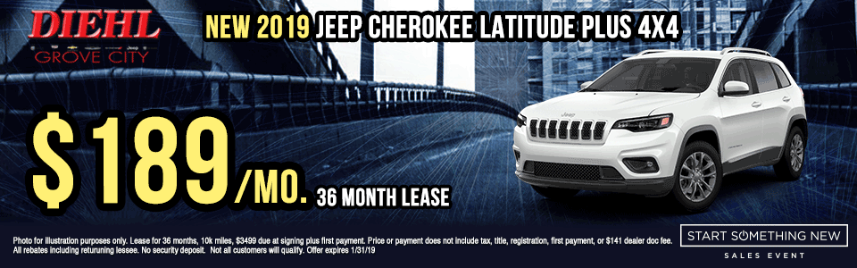 J1349-2019-JEEP-CHEROKEE-LATITUDE-PLUS-4X4 new vehicle specials Start Something New Sales Event Chrysler Specials Dodge Specials Jeep Specials RAM Specials grove city specials Diehl specials Diehl Automotive grove city lease specials