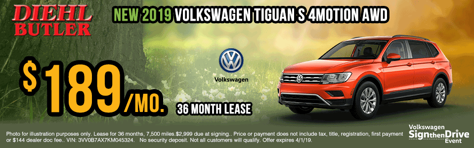V190208-vw-tiguan-s-4motion sign then drive event Volkswagen specials diehl auto Diehl vw new vehicle specials butler pa