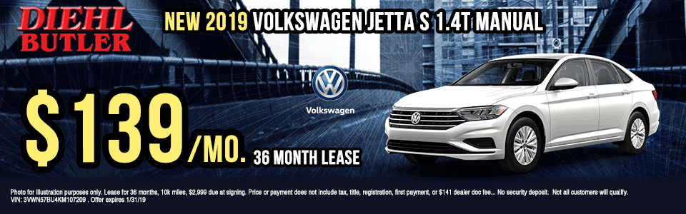 KM107209-2019-VOLKSWAGEN-JETTA-S-1.4T-MANUAL- Diehl Volkswagen of Butler, PA new and used vehicle sales, service, parts, and accessories. Chrysler jeep dodge ram toyota volkswagen New 2019 Volkswagen Jetta 1.4T S FWD 4D Sedan new vehicle specials lease specials butler specials